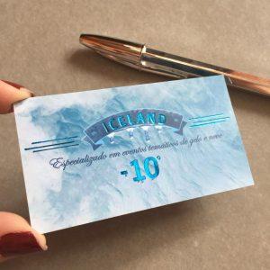 Impressão de Cartão com hot stamping azul