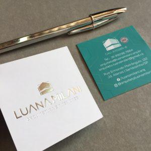 Impressão de Cartão com hot stamping prata