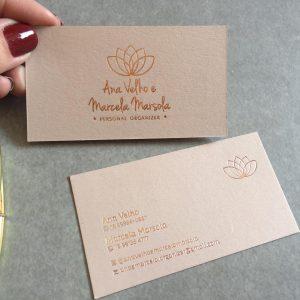 Impressão Cartão com papel importado e hot stamping rosê